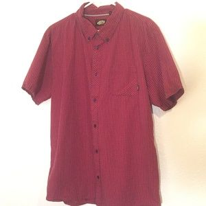 Vans off the wall red black check button shirt
